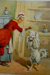 Old 1800 Chromo Litho Mother Hubbard White Spitz Dog