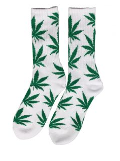 HUF Clothing Plantlife Cannabis Cotton Socks White Green 1 Pair New
