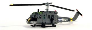 Lego Vietnam era U.S. Army UH 1D Huey Helicopter Military Model