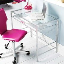 Mainstays Glass Top Desk Clear Blue Fuchsia