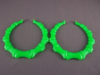 Green Big Huge Hoops Bamboo Earrings 3 3 8 Wide Door Knocker Hoop