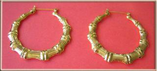 Big Gold Bamboo Hoop Earrings 3 7 5cm Diameter