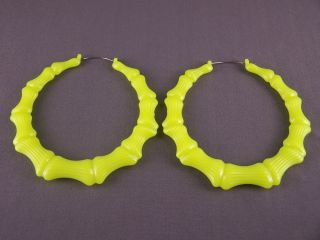 Yellow Big Huge Hoops Bamboo Earrings 3 3 8 Wide Door Knocker Hoop