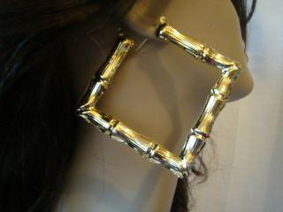 Bamboo Hoop Earrings Square Hoop Gold Tone 4 inch Hoops Large