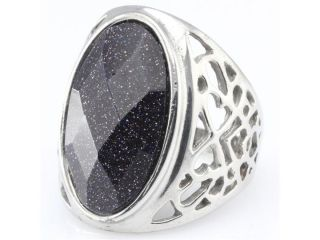 Black Big Stone 316L Stainless Steel Rings Fashion Jewelry D083 Size 9