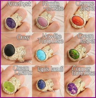 New Womens Arty Big Gemstone Real Stone Cocktail Rings Gold