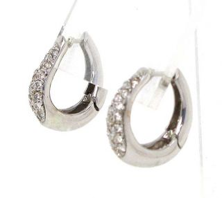 Lovely 14k White Gold Diamonds Huggie Earrings