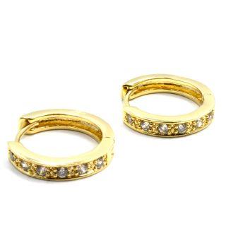 Gold 18K GF Earrings Hoop Huggie Classic White CZ Clear Crystal 15mm