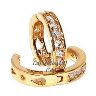 18K Gold Plated Huggie Hoop CZ Earrings