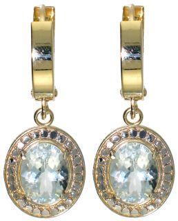 10K Gold Huggie Earrings Genuine Aquamarine Gems