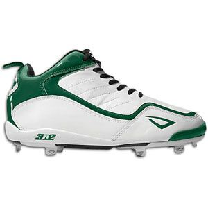 3N2 Viper Metal   Mens   Baseball   Shoes   White/Forest Green/Silver