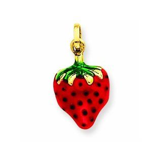 14k Yellow Gold Enameled Puffed Strawberry Charm. Gold Wt  0.56g