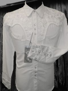 634W Scully Western Cowboy Shirt Gun Fighter 2XL Floral Embroidery