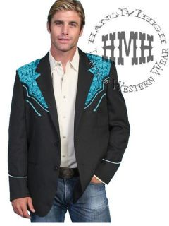806 Scully Western Cowboy Jacket Coat Blazer 44 Turquoise Embroidery