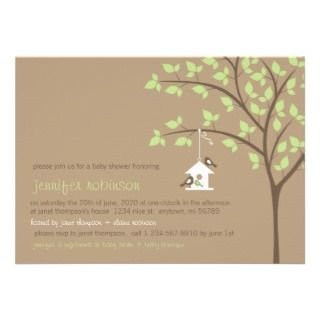 Bird Family on a Birdhouse Custom Invites
