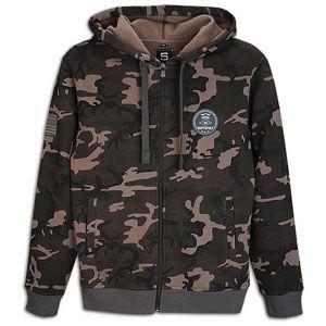 Southpole Camo Print Fleece Full Zip Hoodie   Mens   Army Green
