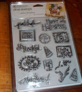 CLEAR ACRYLIC AUTUMN LEAVES STAMPS WINTER HOLIDAYS HALLOWEEN wks CTMH