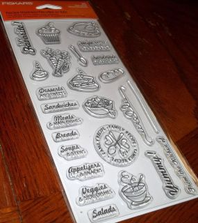 CLEAR ACRYLIC FISKAR STAMPS RECIPE MADNESS SOUP SALAD DESSERTS MEAT wk