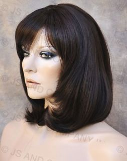 Human Hair Blend Wig Mid Length Dark Brown Straight Face Frame Bangs