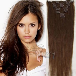 Siren Clip in Human Hair Extensions Brown Real Hair 15 7pcs 70g 6 New