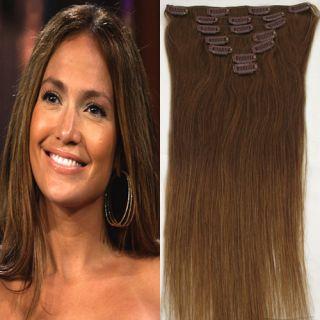Woman Hair Clip In Human Straight Hair Extensions Real Human Hair 15