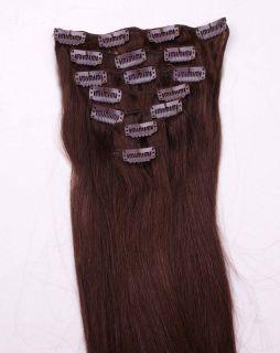 50cm 7pcs Clip in 100 Human Hair Extensions 70g 2 Dark Brown