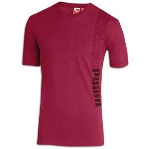 PUMA Vertical Logo T Shirt   Mens   Casual   Clothing   Rio Red/Black