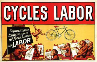 CYCLES LABOR BICYCLE BIKE LABOR SMART MONKEY DRAWING VINTAGE POSTER