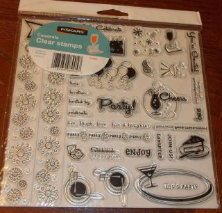 CLEAR ACRYLIC FISKARS STAMPS CELEBRATE PARTY CHEERS CAKE BORDERS wks