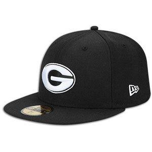 New Era 59Fifty College Black & White Cap   Mens   Georgia   Black