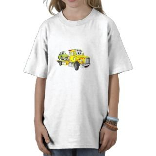 Yellow Cartoon Flatbed Tow Truck Tshirt