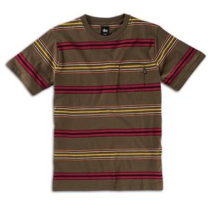 Stussy Crazy Stripe Pocket T Shirt   Mens   Skate   Clothing   Olive
