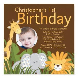 Photo Safari Jungle Animal Kid Birthday Party invitations by
