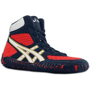 ASICS® Aggressor   Mens   Wrestling   Shoes   Navy/White/Red