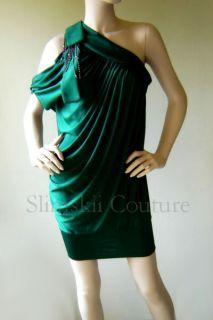 New Sexy Dark Green One Shoulder Jeweled Jersey Grecian Draped Mini