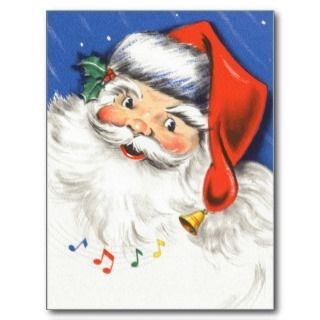 Vintage Christmas Jolly Merry Santa Claus w Music Post Card