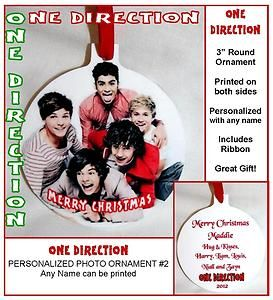 ONE DIRECTION Group Photo Christmas Ornament #2 Personalized w/Name