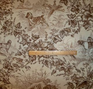 Brunschwig Fils Birds Dogs Hunt Toile Fabric 10 Yards Tobacco