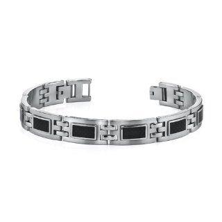 Modern Style Mens Stainless Steel Bracelet with Black Carbon Fiber