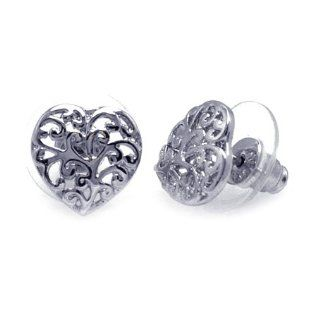 Sterling Silver Heart Stud With Flower Designs Earrings, Comes in a