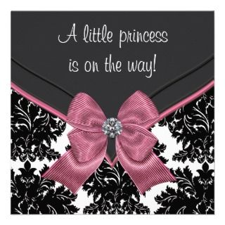Black Damask Pink Bow Princess Baby Shower Personalized Announcements