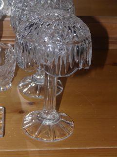 Retro 24 Lead Crystal 8 Hurricane Lamp by Godinger Set of 6