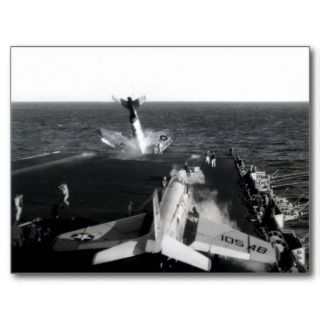 1961 Fatal Accident on US Navy Aircraft Carrier Postcards