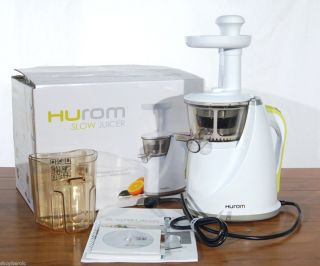 Hurom Slow Juicer Model HU 100w White Cookbook Easy Clean Dual Stage