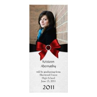 Ruby Gemstone Red Black Ribbon Graduation Personalized Announcement