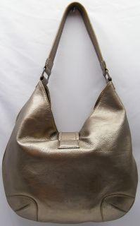 Distressed Michael Kors Hutton Metallic Gold Leather Purse Hobo Bag
