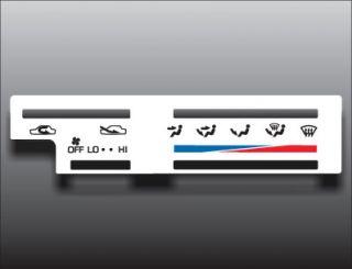 1995 Toyota 4Runner Pickup Truck White Heater Control Overlay HVAC A/C