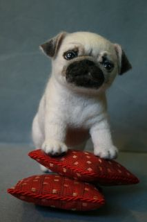 Satomi OOAK Needle Felted Puppy Pug Dog by Marina Goltyaeva
