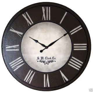 Large Wall Clock 30 Antique Brown Big Gallery Rustic