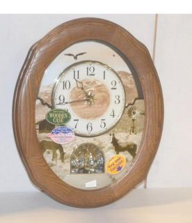 Rhythm Clocks American Prairie Wall Clock 4MH860WU06 Solid Oak Casing